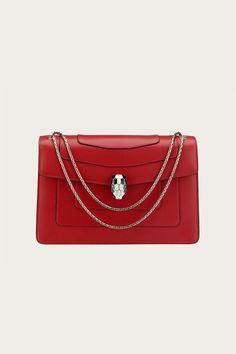 Bulgari Serpenti Bag, Bulgari Bag, Calf Leather, Leather Bag, Red Bags, Ruby Red, Fashion Handbags, Bag Accessories, Shoulder Bag