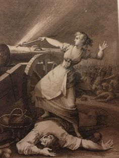In early July 1808 French soldiers stormed a gateway to the city of Zaragoza defended by cannons manned mainly by volunteer Spaniards. The 22-year-old Agustina of Aragon arrived carrying food for those defending the gate. She saw her comrades being slaughtered, whereupon she clambered on their corpses, loaded a cannon and lit the fuse that blasted the invaders at close range. Inspired by her actions, comrades who had fled the gate returned to fight the enemy.