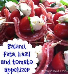 Salami, feta, basil, and tomato appetizers… an easy finger food for your fall parties! Tomato Appetizers, Finger Food Appetizers, Yummy Appetizers, Appetizers For Party, Appetizer Recipes, Appetizer Ideas, Salami Appetizer, Eggplant Appetizer, Simple Appetizers