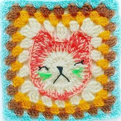 Cat granny square by Set Free MY Gypsy Soul Free Mandala Crochet Patterns, Easter Crochet Patterns, Crochet Designs, Crochet Crafts, Crochet Projects, Free Crochet, Bobble Stitch Crochet, Easy Crochet Stitches, Crochet African Flowers
