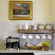 hanging coffee mug storage // single shelf with hooks for Italian mugs, coffee/t… - Regal Selber Bauen Decor, Kitchen Inspirations, Kitchen Remodel, Home Decor, Coffee Mug Storage, Home Coffee Stations, Hanging Mugs, Home Kitchens, Kitchen Shelves