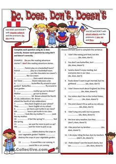 Do , Does, Don't Doesn't worksheet - Free ESL printable worksheets made by teachers Teaching Verbs, Teaching English Grammar, English Grammar Worksheets, English Verbs, Grammar And Vocabulary, Grammar Lessons, English Vocabulary, English Teaching Materials, English Resources