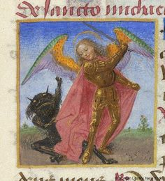A demon trying to grab Michael's wing. 大天使ミカエルさまにすがる悪魔の手が…!:Book of Hours France, ca. 1480 MS M.6 fol. 73r