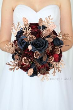 Bling Bouquet, Bridal Bouquet Blue, Bride Bouquets, Gold Wedding Theme, Blue Wedding Flowers, Wedding Bells, Gold And Burgundy Wedding, Budget Bride, Flower Ideas
