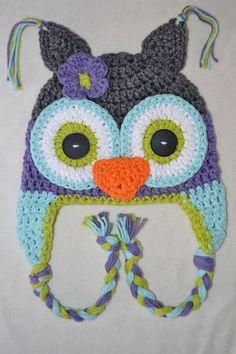 owl hat girls owl hat crochet owl hat by VioletandSassafras. , via Etsy. EYES!