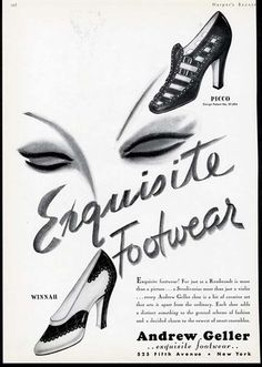 Andrew Geller Exquisite Shoes, 1936. #vintage #shoes #fashion #1930s #ads