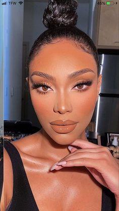 Gold Makeup Looks, Glam Makeup Look, Black Girl Makeup, Cute Makeup, Girls Makeup, Gorgeous Makeup, Pretty Makeup, Simple Makeup, Natural Glam Makeup