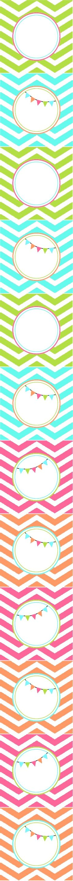 Bright Chevron Party Circles - Thank u tags Printable Labels, Printable Paper, Party Printables, Free Printables, Birthday Fun, Chevron Birthday, Party Decoration, Free Prints, Envelopes