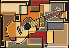 Ambesonne Music Curtains, Funky Fractal Geometric Square Shaped Background with Acoustic Guitar Art, Living Room Bedroom Window Drapes 2 Panel Set, X Pale Yellow Music Silhouette, Acoustic Guitar Art, Funky Bedroom, Rod Pocket Curtains, Curtain Panels, Free Art Prints, Geometric Background, Geometric Art, Graphic Prints