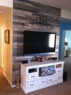 Wood accent wall - wood from old fence we replaced earlier this year!