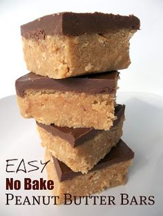 Easy No Bake Peanut Butter Bars Recipe - easy and yummy - what a great combo!  Ingredients  1 cup butter melted  2 cups graham cracker crumbs (use the boxed kind, or grind them in a food processor. Tiny granules.)  2 cups confectioners' sugar (aka powdered sugar)  1 cup + 4 tablespoons peanut butter  1 1/2 cups milk chocolate chips