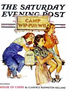 Saturday Evening Post - 1940-07-06: Waiting for Mail (Douglas Crockwell)