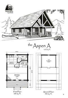 Aspen A Model  www.hiawatha.com A Frame House Plans, Log Home Floor Plans, Barn Houses, Cabin Plans, Reno Ideas, Log Homes, Second Floor, Aspen, Great Rooms