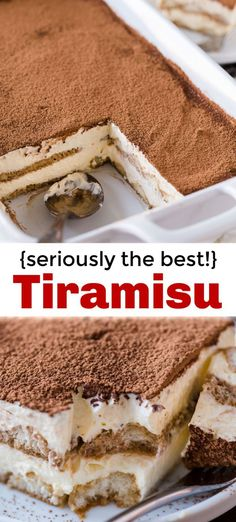 Tiramisu is a classic Italian no-bake dessert made with layers of ladyfingers and mascarpone custard cream (no raw eggs! Truly the best homemade tiramisu. # no bake Desserts Tiramisu - How to Make Tiramisu (VIDEO) Italian Desserts, Köstliche Desserts, Christmas Desserts, Delicious Desserts, Homemade Desserts, Best Desserts To Make, Plated Desserts, Christmas Time, How To Make Tiramisu