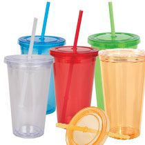 Bulk Double-Wall Plastic Tumblers with Straws, 16 oz. at DollarTree.com $1  $24 a case of 24