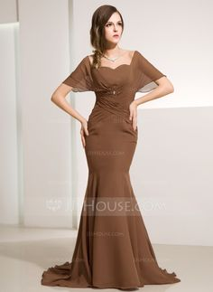 cea2a278e Trumpet/Mermaid Off-the-Shoulder Sweep Train Ruffle Beading Zipper Up at  Side Sleeves Short Sleeves Brown Spring Fall General Plus Chiffon Mother of  the ...
