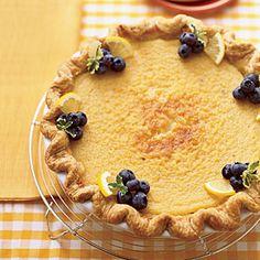 Lemon Buttermilk Pie - At 51 cents per serving, this pie tastes great! Pudding Desserts, 13 Desserts, Dessert Recipes, Easy Pie Recipes, Cookbook Recipes, Pancake Recipes, Cheesecakes, Lemon Pie Recipe, Lemon Recipes