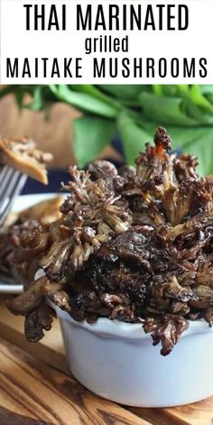 This Maitake Mushroom recipe is a side dish to cherish. Thai Marinated Maitake steaks are grilled mushrooms with an Asian flavor for the grill or grill pan. Best Dinner Recipes, Supper Recipes, Delicious Vegan Recipes, Side Dish Recipes, Lunch Recipes, Vegetarian Recipes, Yummy Food, Vegetable Recipes, Easy Recipes