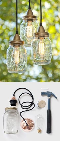 "DIY hanging lamp using mason jars. Hmmm, this has me thinking of that other craft for tinting the glass jars. How about using those smaller rounded ""fancy"" canning jars and tinting them, and making pendant lights for the kitchen bar?!"