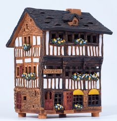 Ceramic handmade house miniature by Midene. House in St. Michel, France. A258