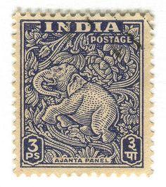 India Postage Stamp: Ajanta Caves elephant | by karen horton