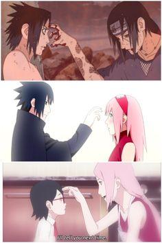 Uchihas poking the forehead of their loved ones  Itachi, Sasuke, Sakura, Sarada ❤️❤️❤️