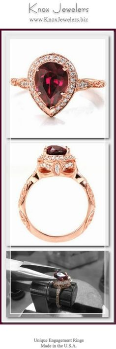 This stunning halo engagement ring is shown in 14 karat rose gold, featuring a 2.30 carat pear cut ruby center stone. The basket under the micro pavé halo features round diamond drapes and a bezel set marquise surprise diamond. The scalloped band is detailed with relief style hand engraving in a scroll pattern. Click on pin to see our collection.