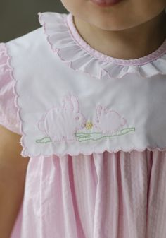 Easter dress, easter outfit, classic children's clothing, little english, little english clothing, preppy children's clothing, traditional children's clothing, bunny, bunny dress, embroidered bunny dress, toddler dress