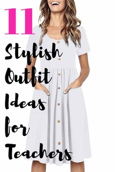 11 best teacher outfits for elementary school teachers. These are the cutest teacher outfits for spring, summer and fall including cute, casual dresses and accessories. Source by ChaylorAndMads Dresses Teacher Dresses, Winter Teacher Outfits, Summer Teacher Outfits, Spring Outfits, School Teacher Clothes, Elementary Teacher Outfits, Teacher Summer, Curvy Outfits, Simple Outfits