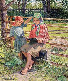 First Lesson by Nikolay Bogdanov-Belsky. Impressionism. genre painting