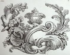 Décoration Rococo ornement de Rocaille architecture gravure Riester Clerget