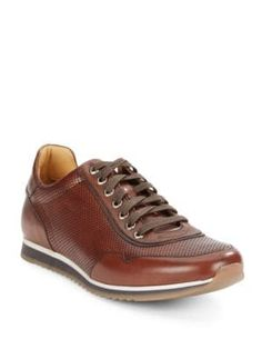 a9c88d4459f SAKS FIFTH AVENUE Perforated Leather Sneakers.  saksfifthavenue  shoes  Brown Sneakers