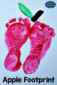 This Apple Footprint Craft is not only a fun art activity for your children, but it is also a precious keepsake that you will treasure too.