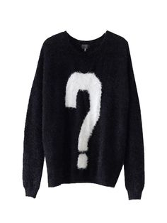 Black Intarsia Knit Sweater With Question Mark | Choies
