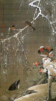 """Ducks and Blossoming Plum in Snow"" by Ito Jakuchu, 1765. 