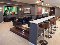 Numerous home theater seating alternatives for you to explore. See much more ideas about Home theater seats, Home theater and also Theater seats. Home Theater Basement, Theater Room Decor, Home Cinema Room, Man Cave Basement, At Home Movie Theater, Home Theater Rooms, Home Theater Seating, Home Theater Design, Basement Walls