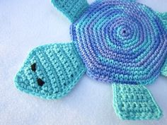 Turtle Pot Holder Crocheted Hot Pad in Blues Table Trivet by Charlene