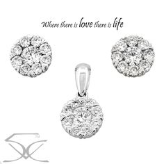 Where there is love there is life.... Pendant Information Metal: 18K White Gold Minimum Carat Total Weight: 0.50 carats Minimum Colour: F-G Minimum Clarity: VS1 Earring Information Metal: 18K White Gold Minimum Carat Total Weight: 0.93 carats Minimum Colour: F-G Minimum Clarity: VS1 Pendant Price: $1,590 Earring Price: $2,550 For more information please visit here at http://www.twinklediamonds.com.au/diamond-jewellery/pendant-earring-sets/cluster-diamond-pendant-and-earring-set-2/