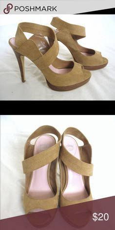 Tan Suede Heels Beautiful tan/nude suede heels. Excellent condition, Gorgeous and secure on my foot, but, things change and can't wear heels this high any more. ☹️ Shoes Heels