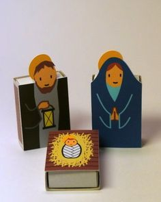 DIY nativity scene doubling as an advent calendar- reveal an item each day and the matchbox has a treat inside! (Cool Crafts With Candy) Christmas Nativity Scene, Nativity Crafts, Noel Christmas, Christmas Crafts, Nativity Scenes, Matchbox Crafts, Matchbox Art, Christmas Activities, Christmas Projects