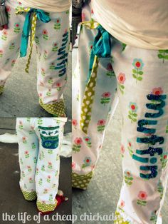 a pj pants tutorial loaded with extras like how to attach a fabric band, how to applique and the best way to make a sash or tie.