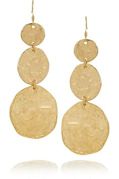 Kenneth Jay Lane- Hammered gold-plated earrings