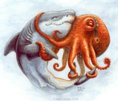 The cute girly octopus was just going about her business; it was part of her job to go get that computer upgrade. The shark technician was cute and comp. Octopus Tattoos, Octopus Art, Kraken Art, Sea Creatures, Illustrations, Amazing Art, Awesome, Bunt, Fantasy Art