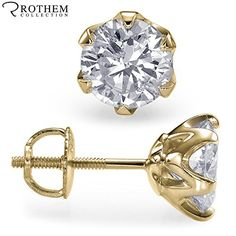 New Design Real 0.82 ct K I2 Royal 6 Prong Diamond Stud Earrings Yellow Gold Pierced Ears 30643560 ** Review more details @…