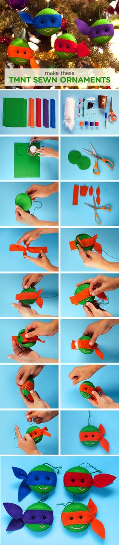 Step-by-step for DIY hand-sewn TMNT ornaments! We can't believe how adorable these turned out. Created by talented artist Miho Tomimasu! http://www.mihotomimasu.com/