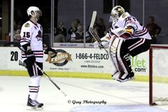 Netminder Alex Richards showed his playful side to fans and teammate Wade Brookbank after the IceHogs skated to a 4-2 victory over the Griffins Saturday .