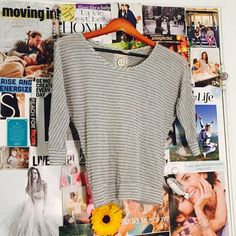 Grey striped top. Nice lace detail in the back. Never Worn. Tops