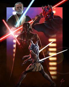 Ahsoka Tano, Darth Vader, Obi-Wan Kenobi, Darth Maul #StarWars