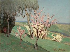 Spring in the Country  -   Giovanni Lomi  Italian  1889-1969  Oil on plywood, cm. 29,6x39,8
