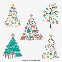 Pack de dibujos de árboles de Navidad de colores
